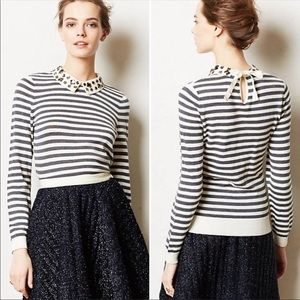 Anthropologie Moth Jeweled Collar Sweater Size XS